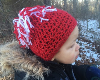 Red Pom Pom Valentines Hat, Crocheted Baby Red Tobaggan with Pom Poms, Newborn Crocheted Valentines Hat, Photo Prop Pom Pom Hat, Toddler Hat