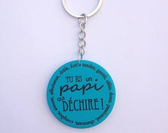 "Grandpa keychain ""you're a Grandpa who rocks"""