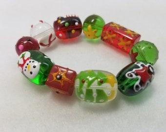 GingerBread Man Christmas Bracelet, Stretch Bracelet