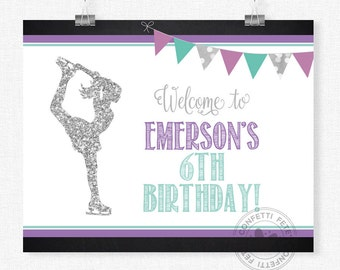 Ice Skating Party Sign, Purple and Silver Skating Welcome Sign, Ice Skating Birthday Sign, Skating Party Decorations, Printable 8x10 Sign