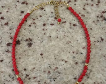Red Feather Choker, Layering Necklace, Stacking Necklace, Gold Brass