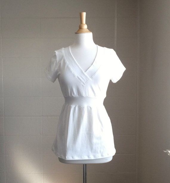 Womens Cotton Vneck Shirt Empire Waist Blouse Short Sleeve tshirt fit and flare peplum tunic cream off white top Made to Order