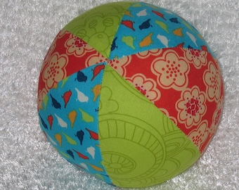 Blue Orange and Lime Park Slope Fabric Ball Rattle - SALE