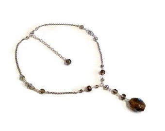 Vintage Sterling Silver Smokey Topaz Lavalier Necklace
