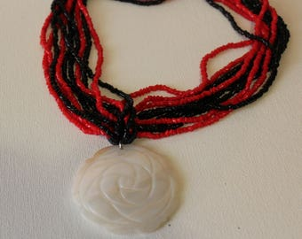 Red Coral Black Onyx Seed Bead Necklace/Mother Of Pearl Flower Pendant Sale/Pearl Multi Strand For Women/10 Strand Beaded Necklace Handmade