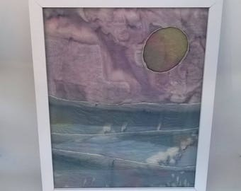 Abstract coastal living seascape in hand-dyed silk, framed and ready to hang