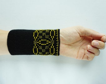 Black and yellow beaded wrist warmers/ knitted wristlets with beads / woollen cuffs – ready to ship