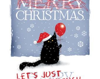 Christmas cynical cat card