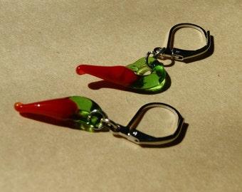 Red chili pepper earrings