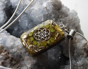 Flower of Life Orgonite® Pendant Necklace with raw green Opal