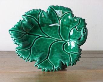 Vintage French Vallauris Ceramic Leaf Plate Dish Majolica
