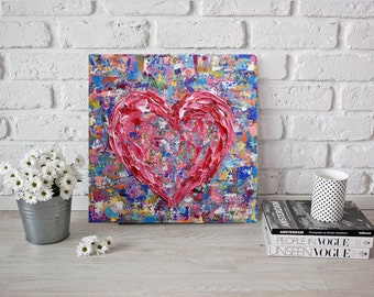 "Pink Heart Painting 12"", Colorful Wall Art Canvas, Acrylic Textured Abstract Heart Painting, Palette Knife Art, Impasto, Impressionist Art"