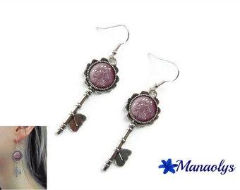Earrings silver keys, glass cabochon, flowers on Plum 3024