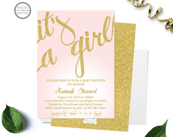 Pink and Gold Baby Shower Invitations, Baby Girl Shower, Its a Girl Baby Shower Invitation, Shower for Baby Girl, Fancy Script Invite