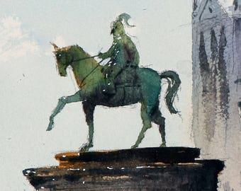 Rome watercolor painting art print