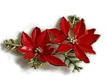 Vintage Christmas Brooch, Enameled Poinsettia, 2 inches by 1 inch, 2 Poinsettia Flowers