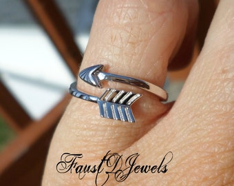 Sterling Silver Arrow Ring with Rhodium Plating 3 4 5 6 7 8 9 10 11 12 13 14