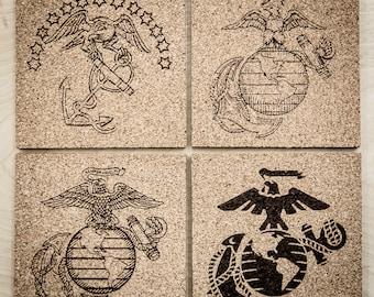 Set of 4 USMC Cork Coasters