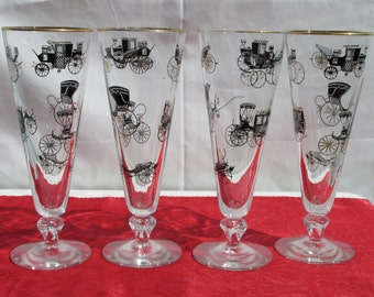 Vintage Libbey Antique Auto Horseless Carriage Pilsner Glasses -