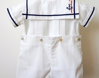 Vintage Boys Sailor suit wth Anchor- All White, New, Never worn