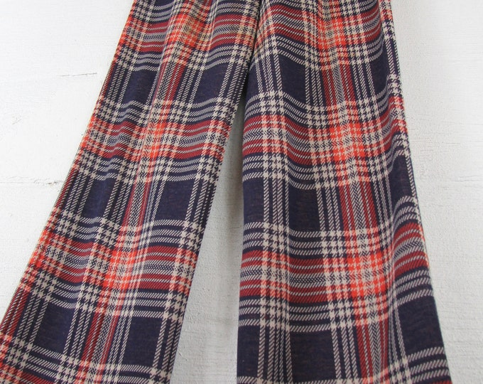 """1970s Women's Plaid Bell Bottom Pants Navy Orange and Brown 27"""" Vintage Size 4 6 8"""
