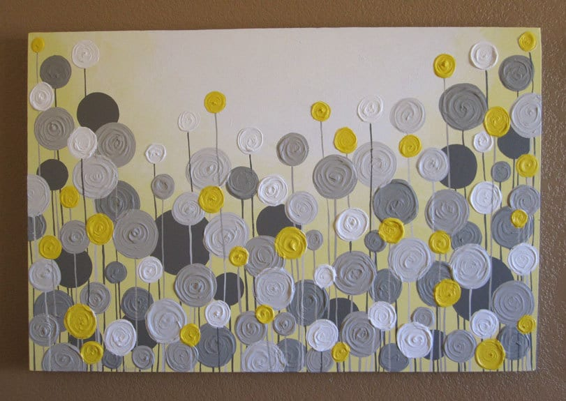 Yellow Wall Art Glamorous Yellow And Grey Wall Art Textured Painting Abstract Flowers Review