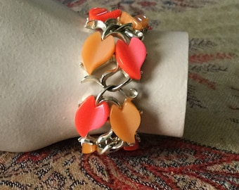 "Vintage Lucite Thermoset Orange Yellow 7"" Bracelet 1950's"
