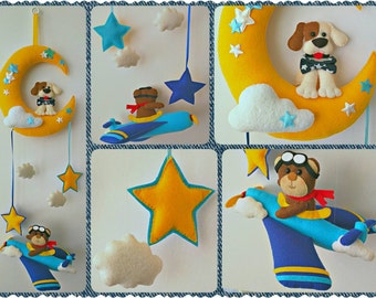 Teddy Bear Pilot and Dog on Moon Hanging Ornament, Baby Mobile, Child Room Hanging Decoration, Wall Decoration, Handmade Home Decor