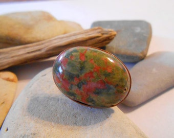 Unakite ring Sideways Oval ring Adjustable ring One of a Kind Large Handmade Unique Chunky Big Gemstone ring Green Stone ring Epidote Copper