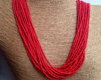 Red beaded necklace, red seed bead multi-strand necklace, red bridesmaids, red necklace, red multi-strand, red bridal party, holiday jewelry