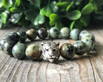 Gemstone kids tiger bracelet, green beaded bracelet, boy stretch bracelet, girl stacking bracelet,kids gift idea, africa kids jewelery,