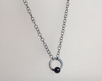 oxidized sterling silver and pearl necklace