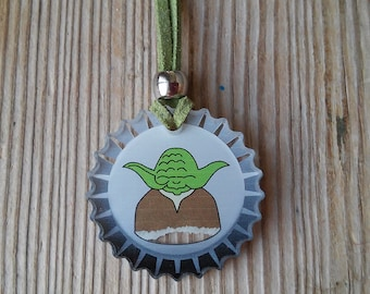 star wars Necklace YODA Cog-Wheel Pendant Jewelry Perspex Suede Leather Hand Made black / green / yellow / blue / pink.