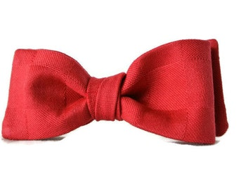 Mens Bow Tie , Solid Red Tie , Christmas Bowtie , Boys , Pre-tied Clip-On , Mens gift Under 25 for Fathers Day