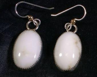 Howlite earrings, White turquoise earrings, Howlite on sterling silver earrings, Howlite hoop earrings