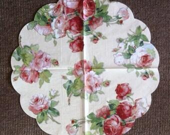PN-144-5. Roses Paper Napkins for Decoupage Napkins with Roses Napkins for Art Luxury Design Wedding Birthday DECOUPAGE SERVIETTE