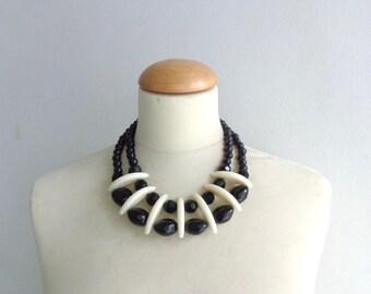 Cream black bib necklace, colourful chunky necklace, modern tribal necklace, statement black ivory necklace