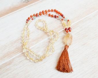 Manifest Mala Beads: Mala Necklace/Citrine Mala/Mala Bead Necklace/108 Mala/Beaded Necklace/Mala Beads 108/yoga jewelry