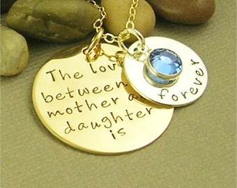 Personalized Hand Stamped Mother & Daughter, Son Necklace, Mixed Metal, 14 KT Gold Filled, Sterling Silver Hand Stamped Jewelry