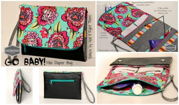 GO BABY Mini Diaper Bag - PDF Sewing Pattern - Foldover zipper ...