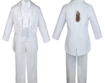 New Boys WHITE Christening 1st Communion 5 (or 6 with stole) pieces Tail Suit Tuxedo BY011 Guadalupe 1