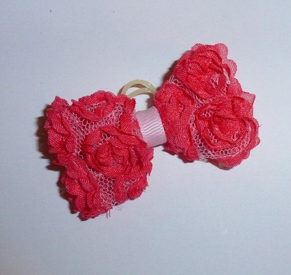 Puppy Bows ~ Shabby Chic mesh roses pink purple blue black  pet hair bow barrettes or bands (fb104)