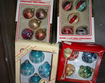 Vintage Glass Christmas Ornaments  European made Sold from Woolworth store