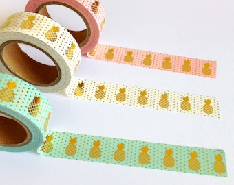 Pineapple Washi Tape, polka dot tape, gold foil decorative tape, craft masking tape, scrapbook planner supplies, pineapple stationery gift