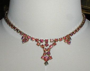 Vintage Pink Strass Halsband set