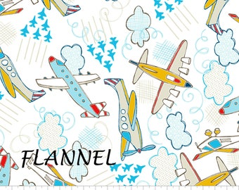 Airplane Flannel Fabric, Baby Boy Flannel Fabric, Camelot Fabrics 1150008B by Vita Lane, Baby Flannel, Cotton Flannel Yardage