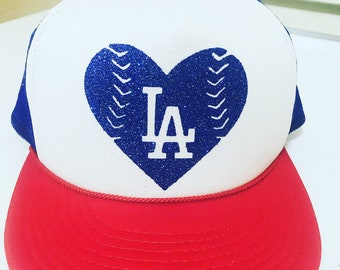 LA Dodgers Heart Trucker Hat