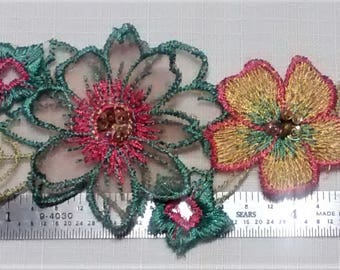 E-164 Green, Red, and Yellow Floral Applique with Amber Glass Beads