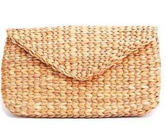 Clutch Bag  Handmade Knited Bamboo Rattan Straw Sea Grass Vegan & Eco Friendly Wallet / Handbag