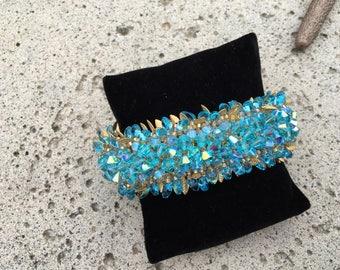 Hand Swarovski Crystal Bicone Beaded Bracelet